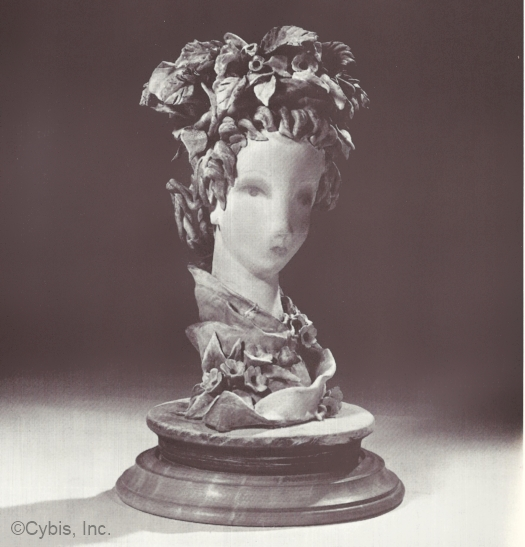 papka HEAD WITH HARVEST WREATH by Cybis in 1940s