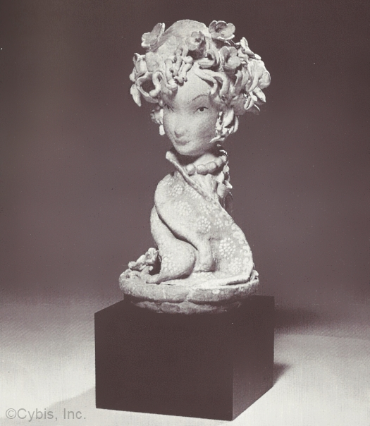 papka WOMANS HEAD WITH FLOWERS by Cybis in 1940s