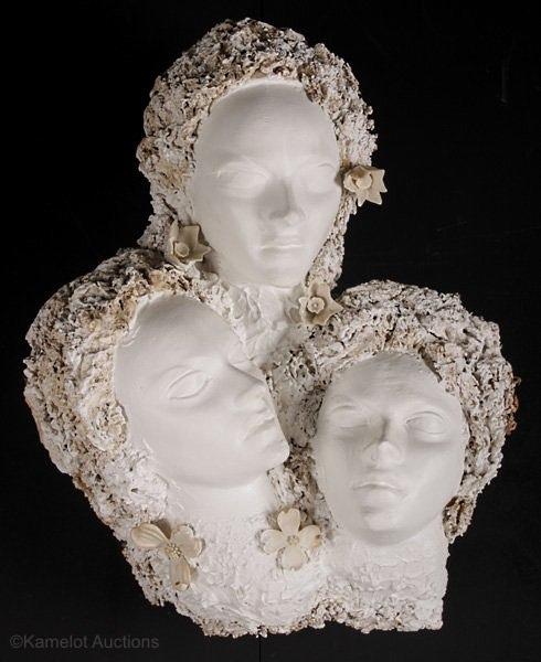 triple female head wall decoration by Cybis ca 1940s