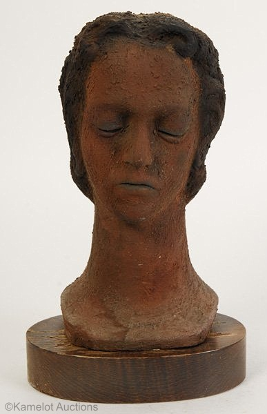 WOMANS HEAD IN TERRACOTTA FINISH by Cybis 1940s view 1