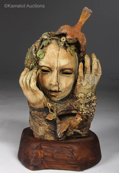 WOOD NYMPH BUST WITH BIRDS by Cybis 1940s view 1