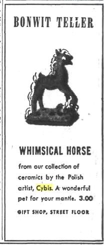1942 Bonwit Teller Philadelphia advertisement for early Cybis horse