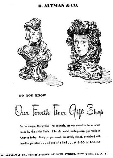 1945 B Altman Cybis ad showing Cordey busts