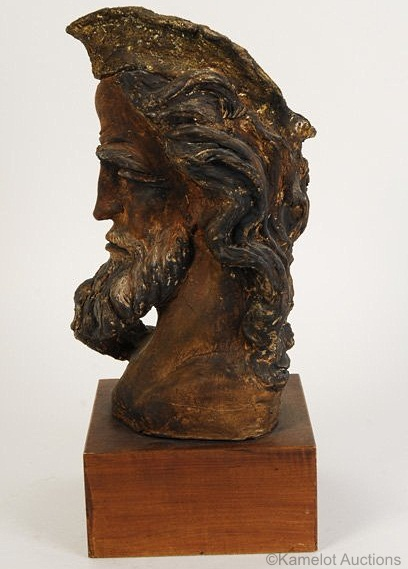 Bearded Mans Head in terracotta and bronze finish by Cybis view 2