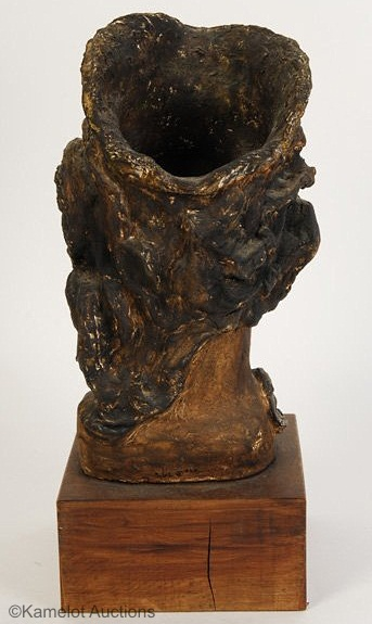 Bearded Mans head in terracotta and bronze finish by Cybis view 3
