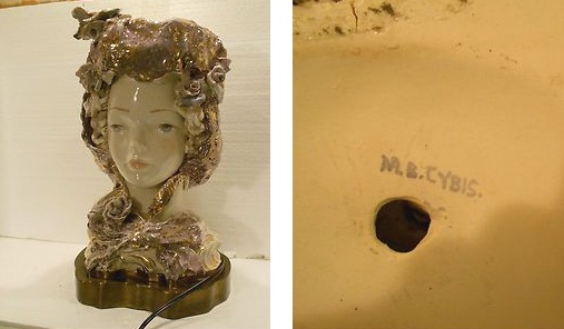 lady bust LAMP signed M B Cybis ca 1940s