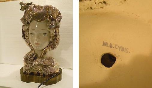 lady bust LAMP signed M B Cybis ca 1940s