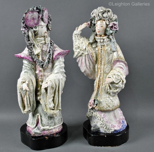 Mandarin Man and Mandarin Woman pair signed M B Cybis ca 1940s