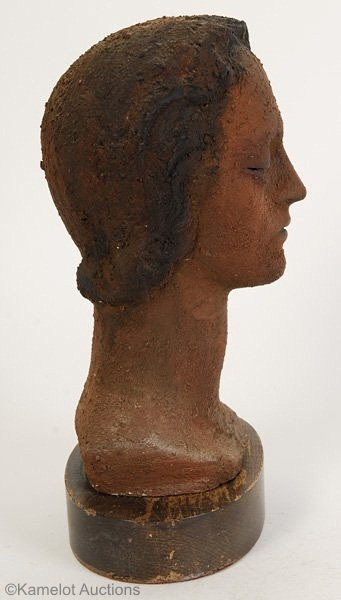 Womans Head in Terracotta Finish by Cybis view 2