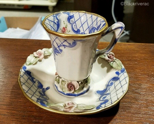 Cordey cup and saucer Lomonsov design view 1
