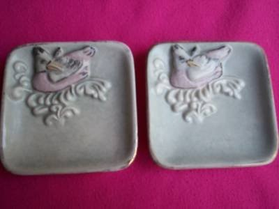 Cordey ashtrays or square plates bird on nest