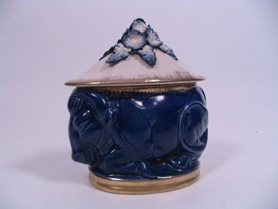 Cordey cobalt blue water buffalo box with lid
