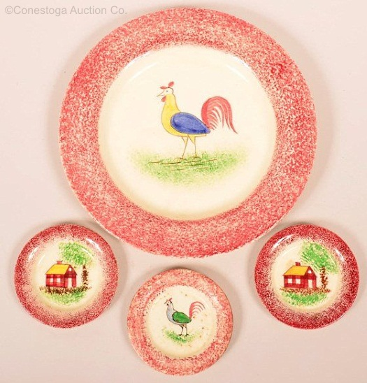 4 assorted RED SPATTERWARE REPRODUCTION PLATES by Cybis circa 1940s