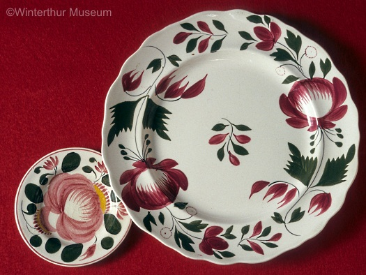 ADAMS ROSE and CABBAGE ROSE plates by Cybis 1940s
