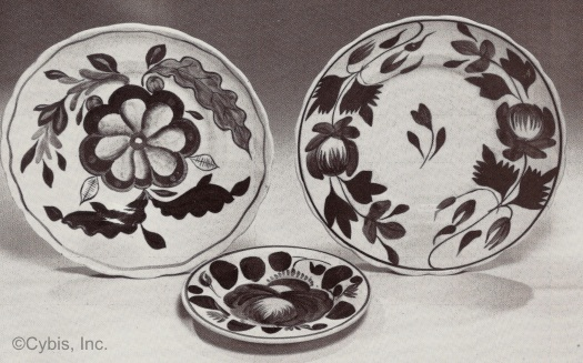 ADAMS rose FLAT rose and CABBAGE rose plates by Cybis ca 1940s