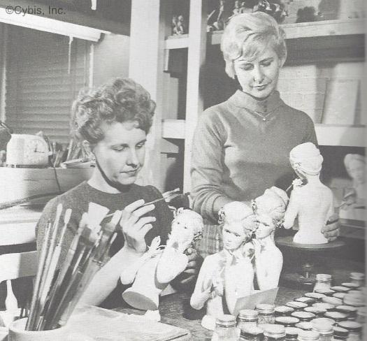 artists at Church St Dorothy Kaminski and Elsie Matelski ca 1960s