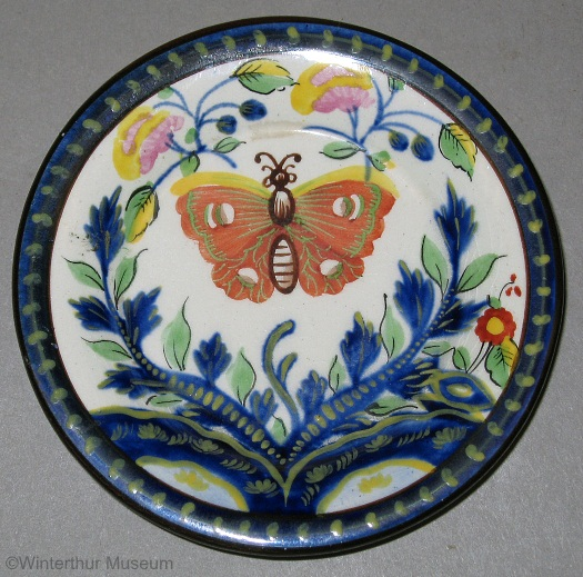 BUTTERFLY MOTIF CUP PLATE reproduction by Cybis 1940s