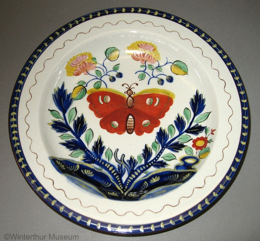 BUTTERFLY MOTIF DINNER PLATE by Cybis 1940s