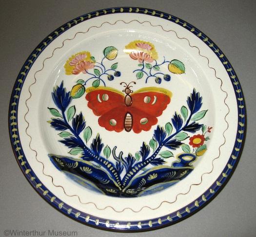 BUTTERFLY MOTIF DINNER PLATE by Cybis 1940s