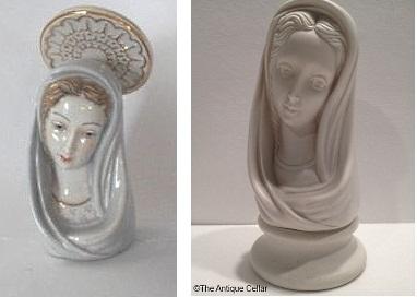 dual signature vs Cybis signature madonna bust ca 1950s