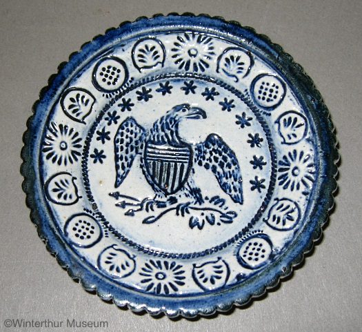 EAGLE CUP PLATE pressed blue on white by Cybis 1940s