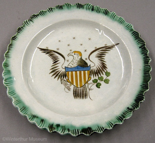 EAGLE SALAD PLATE with green scalloped rim by Cybis 1940s