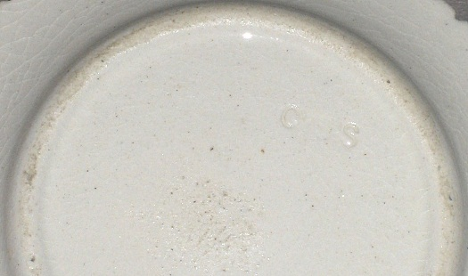 impressed Cybis name almost illegible on 1940s cup plate reproduction
