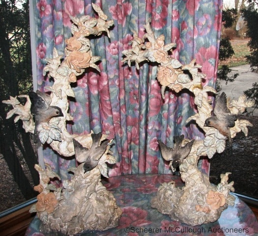PAIR OF PAPKA TREES WITH BIRDS by Cybis early 1940s
