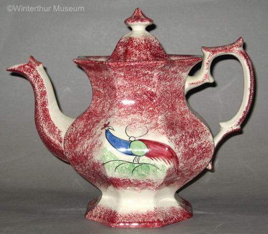 PEAFOWL COFFEEPOT red spatterware by Cybis 1940s