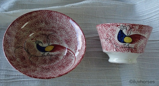 PEAFOWL CUP AND SAUCER red full spatterware by Cybis 1940s