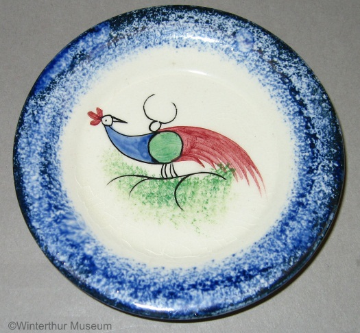 PEAFOWL CUP PLATE blue edge spatterware by Cybis 1940s