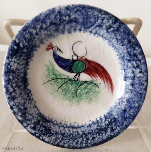 PEAFOWL CUP PLATE in blue Cybis spatterware 1940s