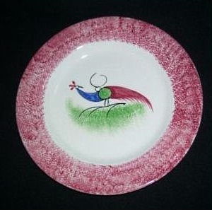 PEAFOWL DINNER PLATE red edge spatterware by Cybis 1940s