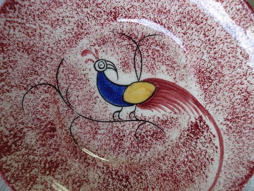 Peafowl Spatterware detail