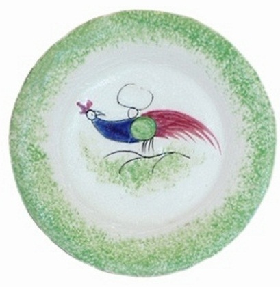 PEAFOWL TODDY PLATE green edge Cybis spatterware 1940s