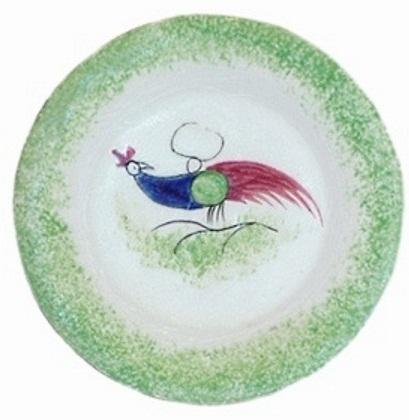 PEAFOWL TODDY PLATE green edge Cybis spatterware 1940s