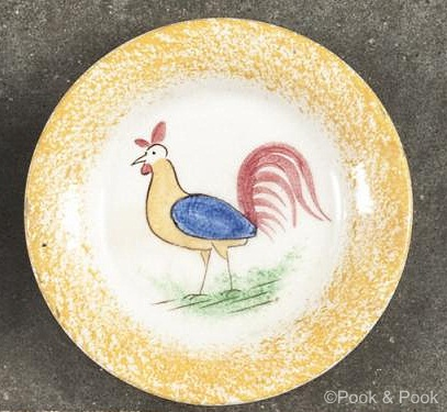 ROOSTER CUP PLATE yellow edge Cybis spatterware 1940s