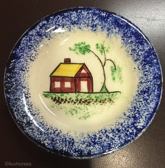 SCHOOLHOUSE CUP OR TODDY PLATE blue edge Cybis spatterware 1940s