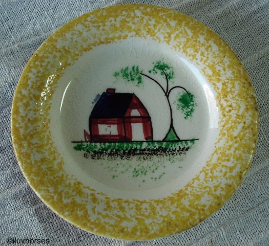 SCHOOLHOUSE CUP OR TODDY PLATE yellow edge Cybis spatterware 1940s