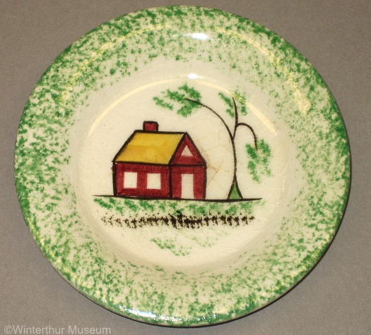 SCHOOLHOUSE CUP PLATE green spatterware by Cybis 1940s