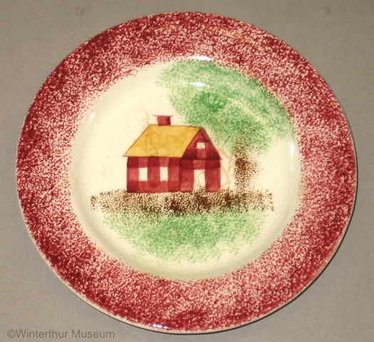 SCHOOLHOUSE CUP PLATE red spatterware by Cybis 1940s