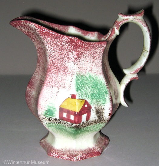 SCHOOLHOUSE OCTAGONAL CREAMER red spatterware by Cybis 1940s