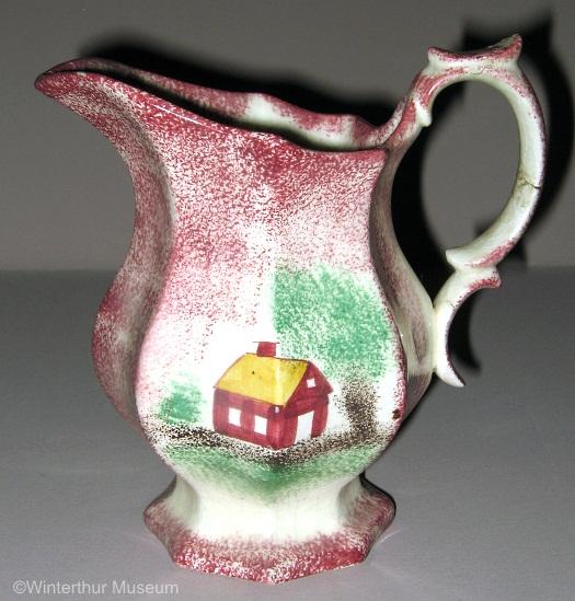 SCHOOLHOUSE OCTAGONAL CREAMER red spatterware by Cybis 1940s