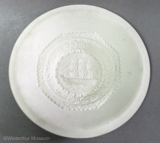 SHIP CENTER TODDY PLATE unpainted white bisque by Cybis 1940s