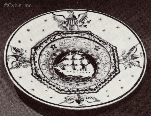 SHIP TODDY PLATE WITH EAGLES by Cybis late 1940s