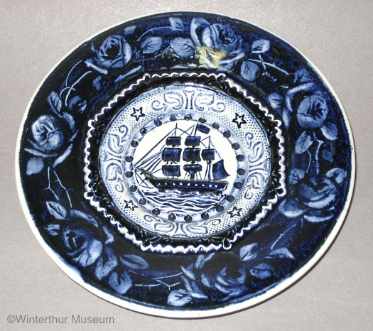 SHIP TODDY PLATE WITH ROSES in round shape by Cybis 1940s