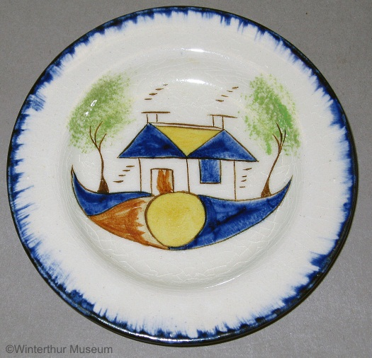 STYLIZED HOUSE MOTIF TODDY PLATE by Cybis 1940s