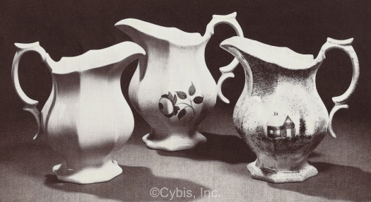 three octagonal reproduction creamers by Cybis circa late 1940s early 1950s