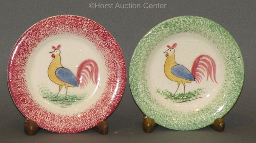 two ROOSTER SPATTERWARE REPRODUCTION PLATES by Cybis circa 1940s