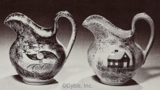 two small spatterware creamers by Cybis ca 1940s 1950s